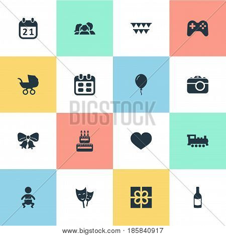 Vector Illustration Set Of Simple Celebration Icons. Elements Beverage, Domestic, Baby Carriage And Other Synonyms Carriage, Heart And Present.