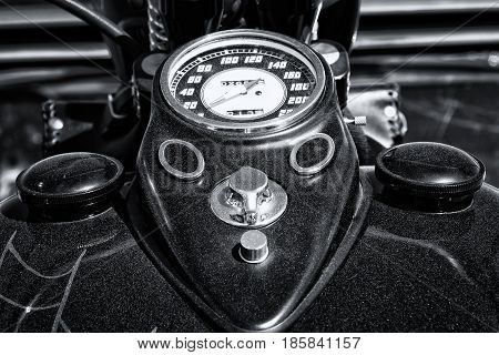 PAAREN IM GLIEN GERMANY - MAY 19: The dashboard and fuel tank motorcycle Harley Davidson Custom Chopper black and white