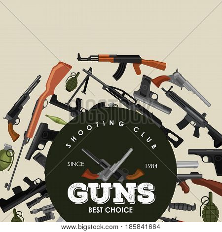 military gun set, automatic and hand weapon in magazine barrel with bullets for protection shoting or war collection, handgun for hunting and police equipment, ammunition background isolated vector illustration