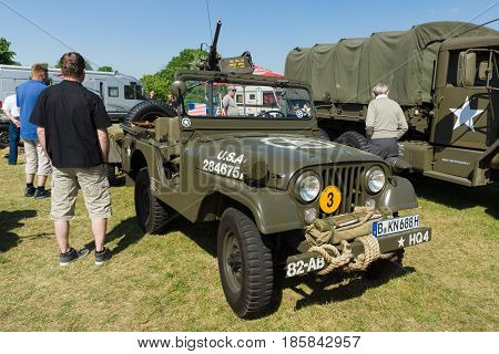 PAAREN IM GLIEN GERMANY - MAY 19: Military vehicles of the U.S. Army Jeep with 50 cal. Browning machine gun