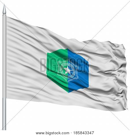 Sapporo Capital City Flag on Flagpole, Prefecture of Japan, Isolated on White Background
