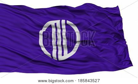 Isolated Sendai Flag, Capital of Japan Prefecture, Waving on White Background, High Resolution