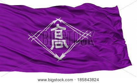 Isolated Takamatsu Flag, Capital of Japan Prefecture, Waving on White Background, High Resolution