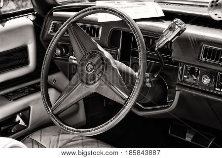 Paaren Im Glien, Germany - May 19: Cab Full-size Personal Luxury Car Cadillac Eldorado, Black And Wh