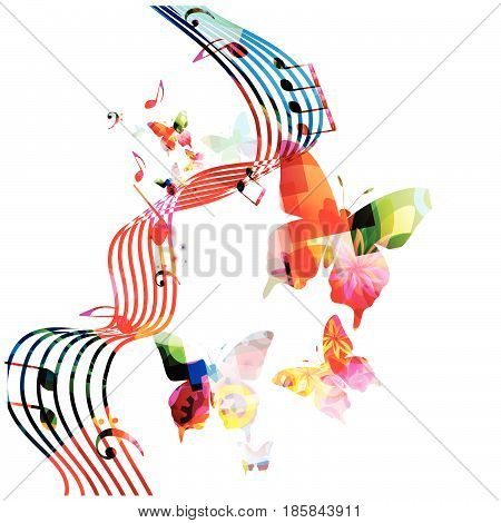 Music notes background. Colorful stave with music notes and butterflies isolated vector illustration