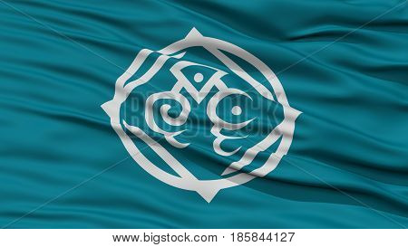 Closeup of Tottori Flag, Capital of Japan Prefecture, Waving in the Wind, High Resolution