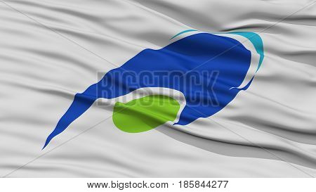 Closeup of Tsu Mie Flag, Capital of Japan Prefecture, Waving in the Wind, High Resolution