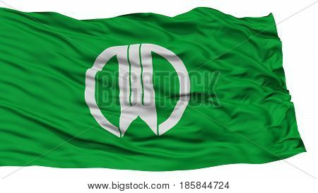 Isolated Yamagata Flag, Capital of Japan Prefecture, Waving on White Background, High Resolution