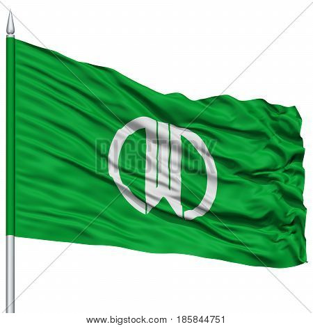 Yamagata Capital City Flag on Flagpole, Prefecture of Japan, Isolated on White Background