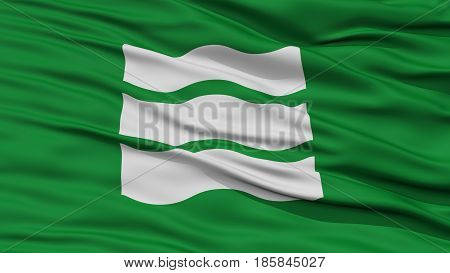 Closeup of Hiroshima Flag, Capital of Japan Prefecture, Waving in the Wind, High Resolution