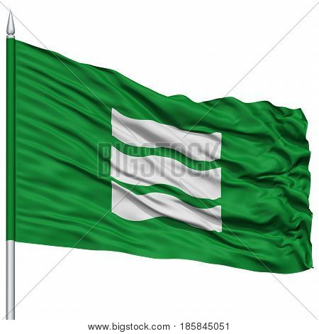 Hiroshima Capital City Flag on Flagpole, Prefecture of Japan, Isolated on White Background