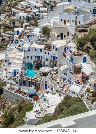 view of oia in santorini, typical greek architecture