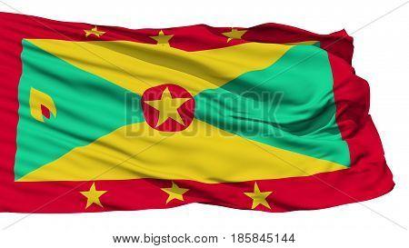 Animation of the full fluttering national flag of Greanada isolated on white
