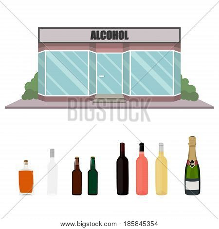 Alcohol Bottles And Shop Facade