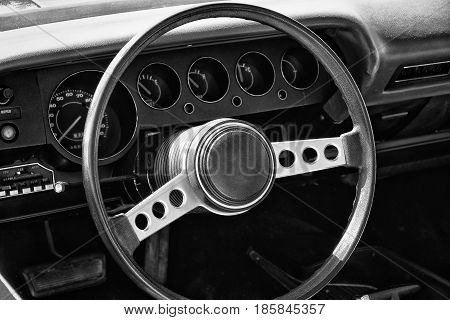 Paaren Im Glien, Germany - May 19: Cab Of Pony Car Dodge Challenger (1974), Black And White, The Old