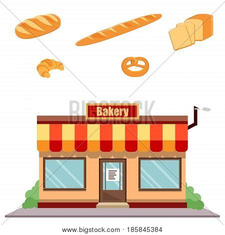 Bakery Shop Facade And Bread