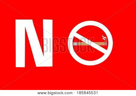 No smoking sign on RED background May 31- World No Tobacco Day.