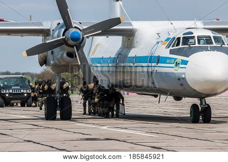 Kiev Region Ukraine - April 24 2012: Special counter-terrorist forces train to rescue the hostages from the plane captured by the terrorists