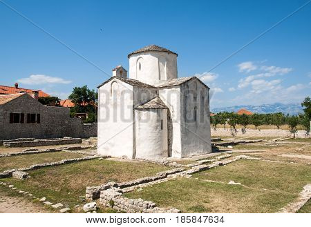 NIN CROATIA - JULY 2 2015: Church of the Holy Cross is a Croatian Pre-Romanesque Catholic church originating from the 9th century in Nin