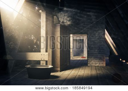 3d rendering of an empty wooden attic room in beautiful light beam