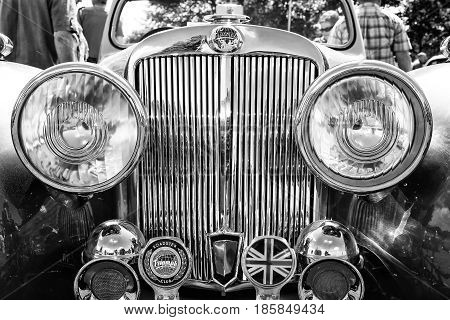 Paaren Im Glien, Germany - May 19: Detail Of Car Triumph Roadster, Black And White,