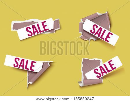 Ragged brown paper set with Sale inscription on rectangular frames on light background isolated vector illustration