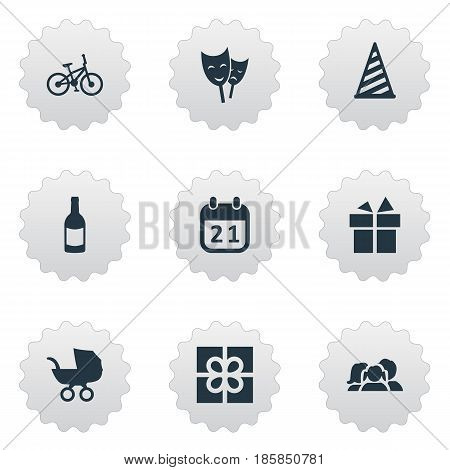 Vector Illustration Set Of Simple Holiday Icons. Elements Domestic, Special Day, Mask And Other Synonyms Theater, Family And Cap.