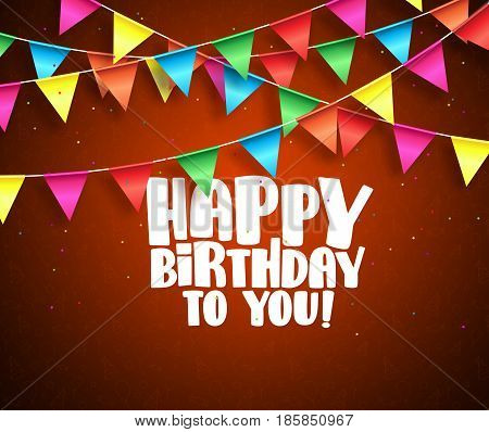 Happy birthday vector banner design. Birthday text and colorful streamers hanging in red background with patterns. Vector illustration.