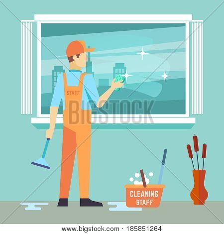 Flat man washes window - cleaning man vector character. Man cleaner work with brush illustration