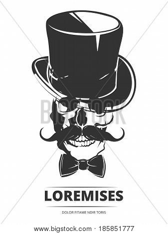 Smiling human skull with cylinder, mustache and bow tie isolated on white background. Vector illustration
