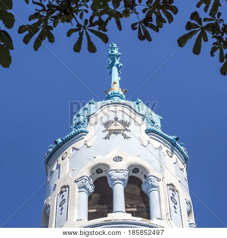 view of the tip of the tower blue church in bratislava church of St. Elisabeth