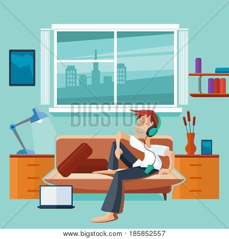 Flat interior with man on sofa - teenager listen musc in the room. Vector illustration