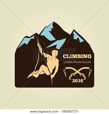 Vintage mountain climbing logo - sport activity badge or banner. Extreme adventure emblem, vector illustration