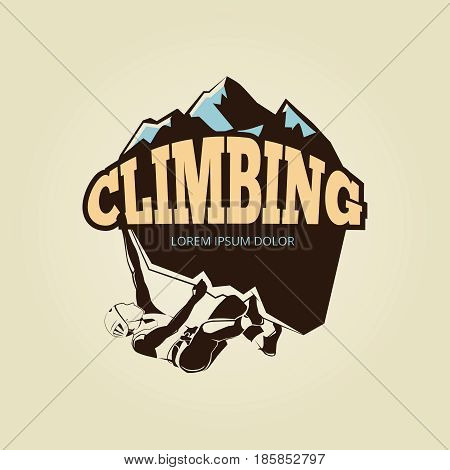 Vintage mountane climbling logo with person. Emblem climbing expedition, vector illustration