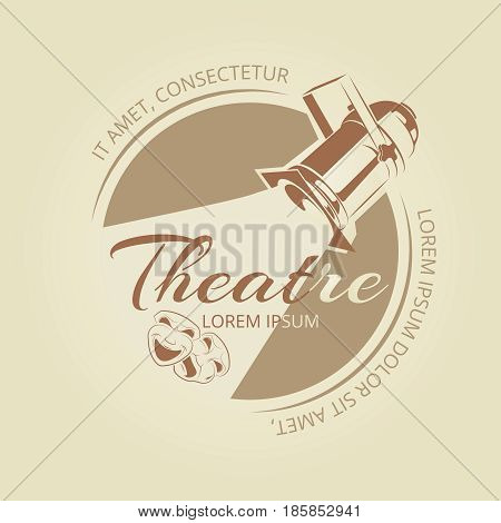 Theatre banner design - art badge with soffit and theatre masks. Vector illustration