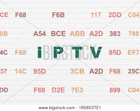 Web design concept: Painted green text IPTV on White Brick wall background with Hexadecimal Code