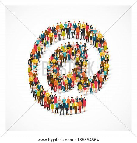 Large group of people stands in the at symbol. Vector illustration on white background. Concept email address.