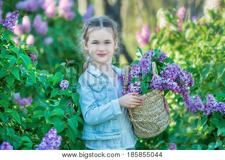 smiling little cute blonde child girl 4-9 years with a bouquet of lilac in the hands in jeans and shirt.