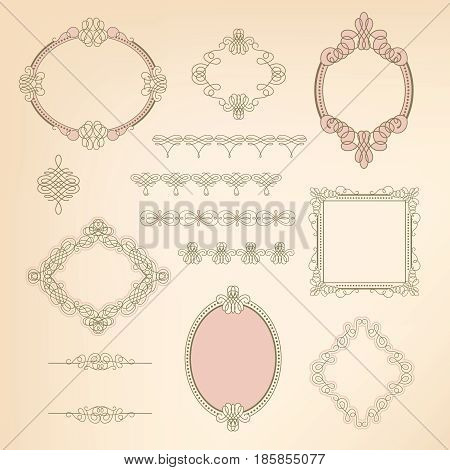 Set collection of calligraphic elements frames signs.Can be used for decorate cards invitations create wallpapers templates border decorate books and letters. Vector illustration.