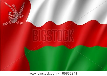 Sultanate of Oman national flag. Patriotic symbol in official country colors. Illustration of Asian state flag. Vector icon