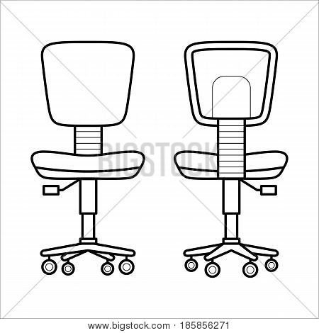Modern chair - element of office furniture. Comfortable seat with armrests for work. Flat vector icon of armchair in simple outline style. Black thin linear illustration isolated on white background.