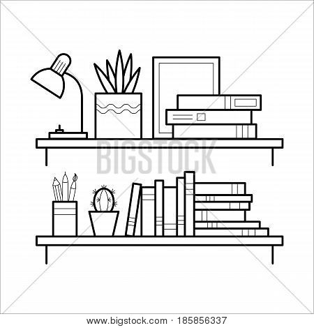Bookshelf in thin line style. Element of interior furniture. Book shelf in linear flat vector illustration isolated on white background.