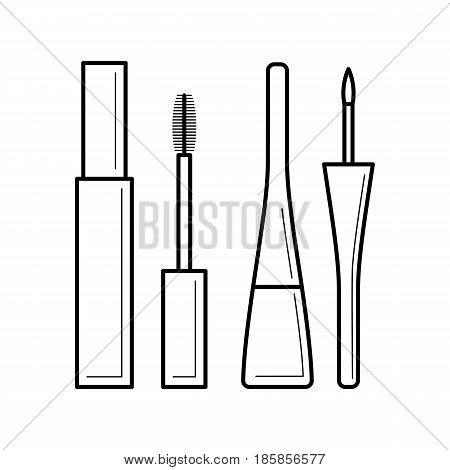 Mascara and eyeliner icon, open and close tube image with brush and applicator, main lady makeup product, decorative cosmetics, beauty and care concept, vector illustration