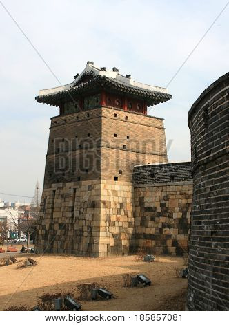 Hwaseong (Brilliant Castle/ Fortress), Suwon, South Korea - February 16, 2011 - The tower to the fortress in February 16, 2011, Hwaseong (Brilliant Castle/ Fortress), Suwon, South Korea