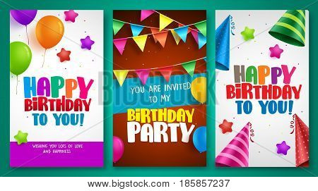 Happy birthday vector poster designs set with colorful elements like balloons and birthday hats for birthday party and other celebrations. Vector illustration.