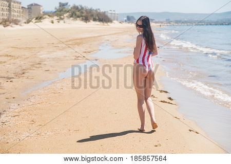 Rear view of beautiful young woman patriot USA on the ocean.
