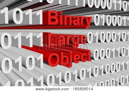 Binary large object as a binary code 3D illustration