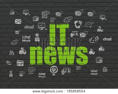 News concept: Painted green text IT News on Black Brick wall background with  Hand Drawn News Icons