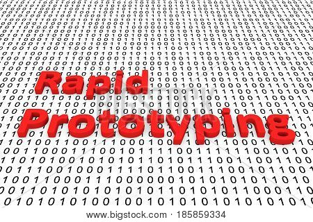 apid prototyping in the form of binary code, 3D illustration