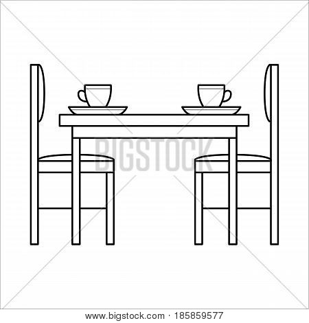 Table and chairs in dinning room. Flat vector icon in simple outline style. Interior element of house kitchen furniture in thin line. Black thin linear illustration isolated on white background.
